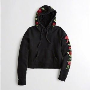 Black Rose Embroidered Cropped Hoodie